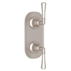 San Giovanni Trim for 1/2 Inch Thermostatic and Diverter Control Rough Valve - Satin Nickel with Metal Lever Handle