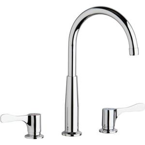 """Elkay 8"""" Centerset Concealed Deck Mount Faucet with Gooseneck Spout and 4"""" Lever Handles + Stop Chrome Product Image"""