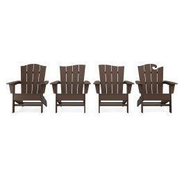 Polywood Furnishings - Wave Collection 4-Piece Adirondack Chair Set in Mahogany