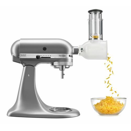 KitchenAid - Value Bundle Artisan® Series 5 Quart Tilt-Head Stand Mixer with Fresh Prep Slicer/Shredder Attachment - Contour Silver