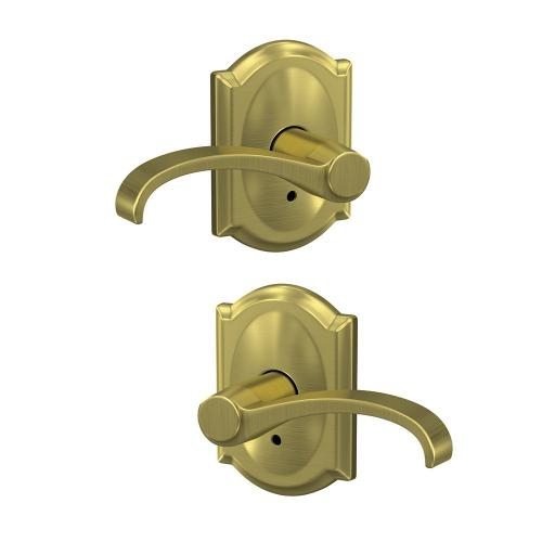 Custom Whitney Non-Turning Lever with Camelot Trim - Satin Brass