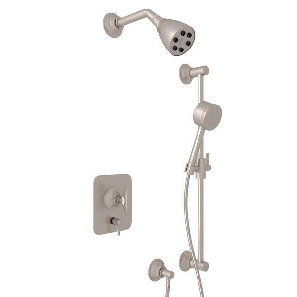 Satin Nickel GRACELINE PRESSURE BALANCE SHOWER PACKAGE with Metal Dial Handle Graceline Series Only