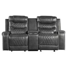 View Product - Double Glider Reclining Love Seat with Center Console, Receptacles and USB port