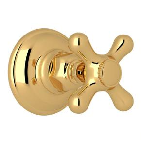 Verona Trim for Volume Control and 4-Port Dedicated Diverter - Italian Brass with Cross Handle