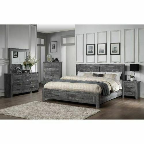 ACME Vidalia Queen Bed (Storage) - 27330Q - Rustic - Wood (Solid Pine), Veneer (Melamine), MDF - Rustic Gray Oak