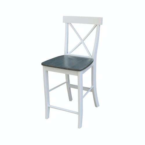X-Back Stool in White Grey