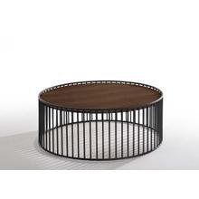 View Product - Modrest Bronson Modern Walnut & Black Round Coffee Table