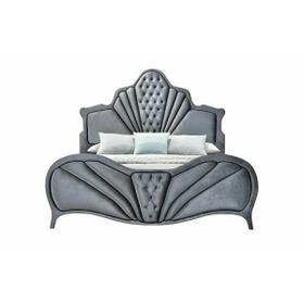 ACME Dante Eastern King Bed - 24227EK - Glam - Velvet, Inner Frame: MDF, PB, Chipboard - Gray Velvet