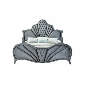 ACME Dante Eastern King Bed - 24227EK - Glam - Velvet, Inner Frame: MDF, PB, Chipboard - Gray Velvet