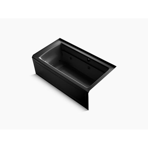 "Black Black 60"" X 32"" Alcove Whirlpool Bath With Bask Heated Surface, Integral Apron, Integral Flange and Right-hand Drain"