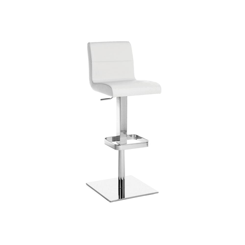 The Stella Adjustable Bar Stool In White Leather With Chrome Plated Base