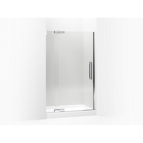 "Crystal Clear Glass With Bright Polished Silver Frame Pivot Shower Door, 72-1/4"" H X 45-1/4 - 47-3/4"" W, With 3/8"" Thick Crystal Clear Glass"