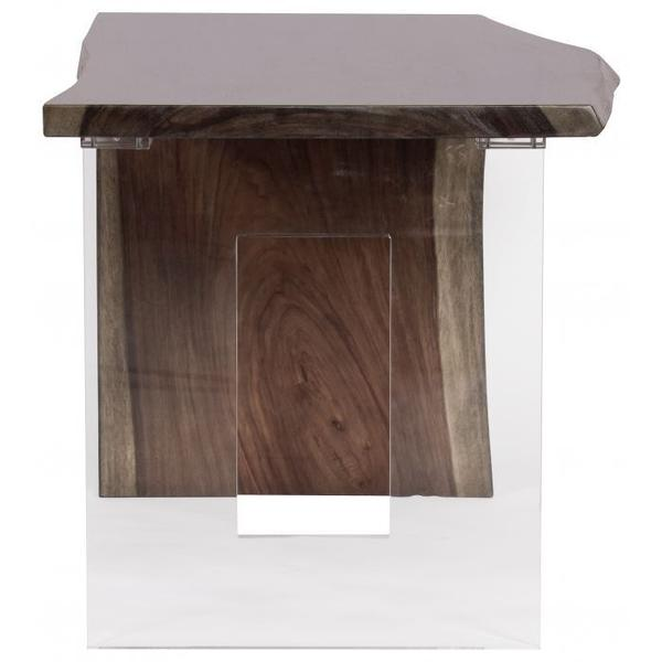 """See Details - Heritage Guanacaste 54"""" Waterfall Desk with Acrylic Square Base"""