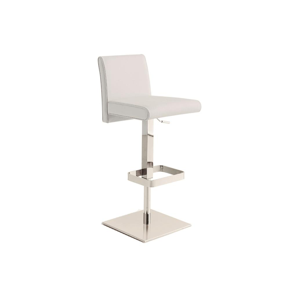 The Vittoria Adjustable Bar Stool In White Leather With Chrome Plated Base