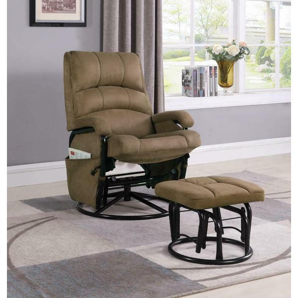 See Details - Casual Brown Reclining Glider With Matching Ottoman