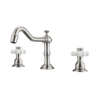 Roma Widespread Lavatory Faucet with Porcelain Cross Handles - Brushed Nickel Product Image
