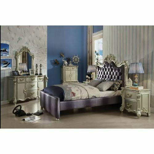 ACME Vendome II Queen Bed - 30690Q - 2-Tone Gray Fabric & Champagne