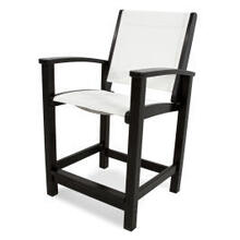 View Product - Coastal Counter Chair in Black / White Sling