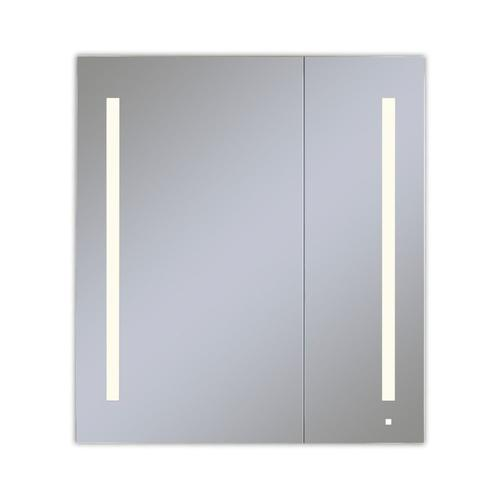 """Aio 35-1/4"""" X 40"""" X 4"""" Dual Door Lighted Cabinet With Large Door At Left With Lum LED Lighting In Soft White (2700k), Dimmable, Interior Lighting, Electrical Outlet, Usb Charging Ports and Magnetic Storage Strip"""
