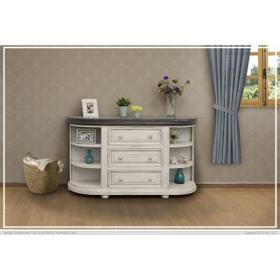 See Details - 3 Drawers w/ 6 Shelves Console Ivory & Stone Finish