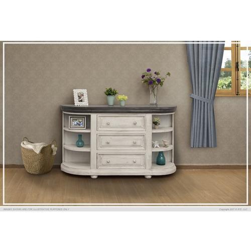 3 Drawers w/ 6 Shelves Console Ivory & Stone Finish