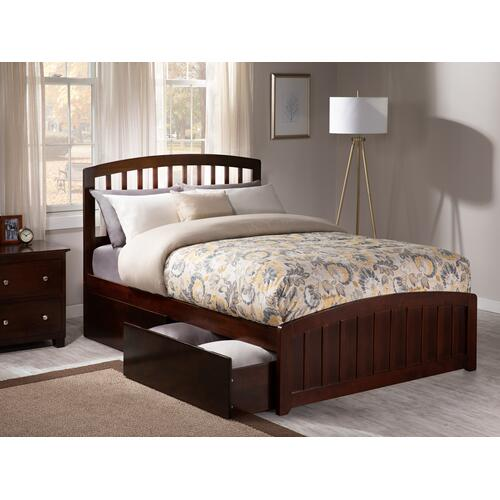 Richmond Full Bed with Matching Foot Board with 2 Urban Bed Drawers in Walnut