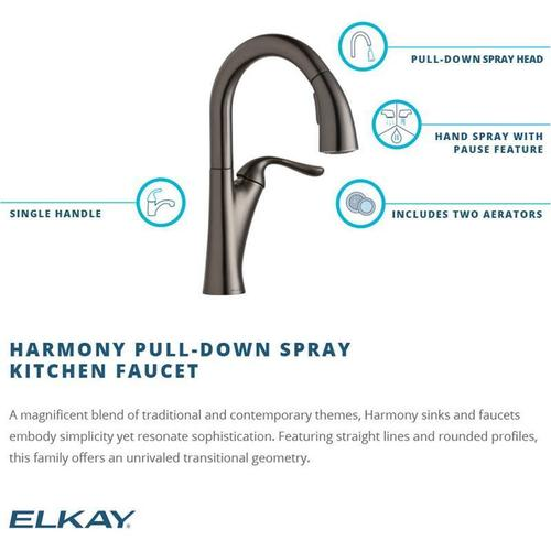 Elkay - Elkay Harmony Single Hole Bar Faucet with Pull-down Spray and Forward Only Lever Handle Antique Steel