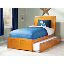 Portland Twin Bed with Matching Foot Board with Urban Trundle Bed in Caramel Latte