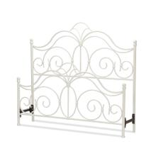 See Details - Rhapsody Metal Headboard and Footboard Bed Panels with Delicate Scrolls and Finial Posts, Glossy White Finish, Queen