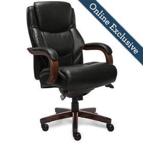 Delano Big & Tall Executive Office Chair, Black with Mahogany Wood