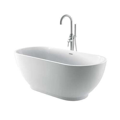 """Radcliff 67"""" Acrylic Tub with Integral Drain and Overflow - Polished Chrome Drain and Overflow"""
