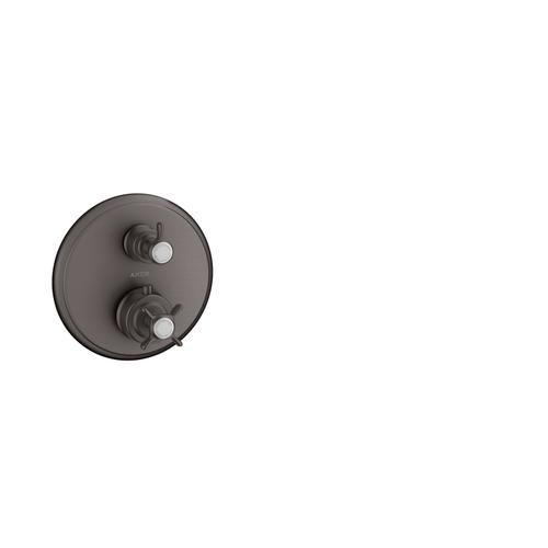 Brushed Black Chrome Thermostat for concealed installation with cross handle and shut-off valve