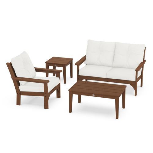 Vineyard 4-Piece Deep Seating Set in Teak / Natural Linen