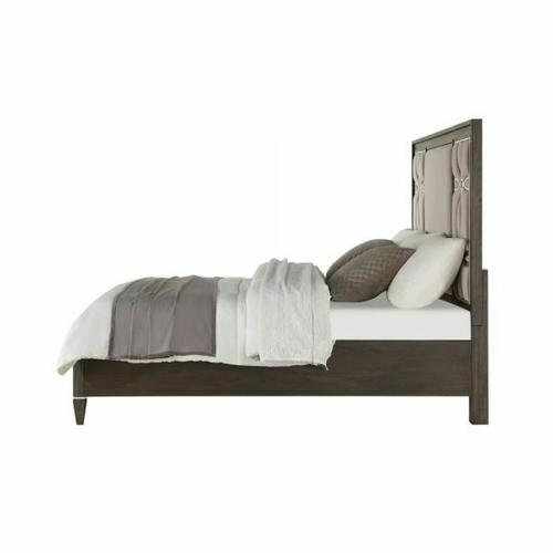 ACME Peregrine Queen Bed - 28010Q - Fabric & Walnut