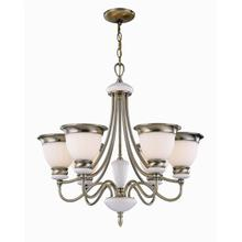 See Details - 6-lite Ceiling Lamp, Ab/frost Glass Shade, Type A 60wx6