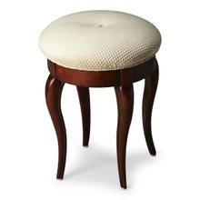 The cabriole legs of this petite vanity stool are made from solid wood and finished in a Plantation Cherry finish. The button-tufted cushioned seat is upholstered in a cotton hobnail fabric. Style 2135024 Vanity Stool pictured is available, but not included