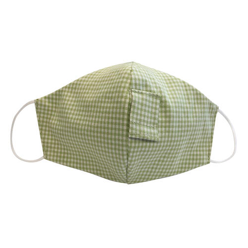 Happy Hour Reusable Face Mask in Celery Green Gingham Check