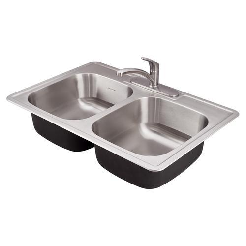 American Standard - Colony ADA 33x22 Double Bowl Kitchen Sink Kit  American Standard - Stainless Steel