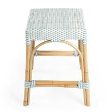 See Details - Evoking images of sidewalk tables in the Cote d'Azur, counter stools like this will give your kitchen, dining area, or covered patio the casual sophistication of a Mediterranean coastal bistro. Expertly crafted from thick bent rattan for superb durability, it features weather resistant woven plastic in a choice of colors to complement your space. This backless rectangular counter stool is lightweight for easy mobility with comfort to make the space it's in a frequent gathering place.