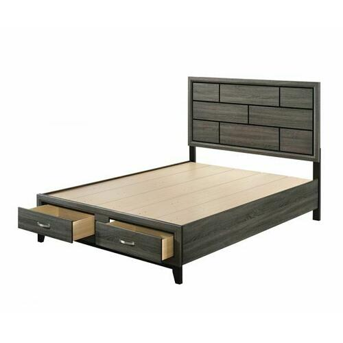 ACME Valdemar Eastern King Bed (Storage) - 27057EK - Transitional - Wood (Rbw), Veneer (PU Foil) - Weathered Gray