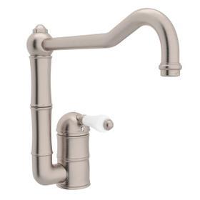 Acqui Single Hole Column Spout Kitchen Faucet with Extended Spout - Satin Nickel with White Porcelain Lever Handle