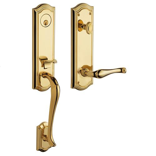 Baldwin - Non-Lacquered Brass Bethpage Handleset
