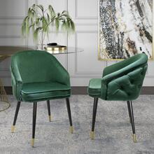 View Product - Modrest Elliot - Contemporary Green & Black/Gold Dining Chair (Set of 2)