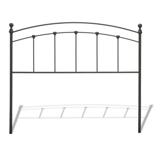 Sanford Metal Headboard Panel with Castings and Round Finial Posts, Matte Black Finish, Twin