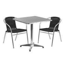 27.5'' Square Aluminum Indoor-Outdoor Table Set with 2 Black Rattan Chairs