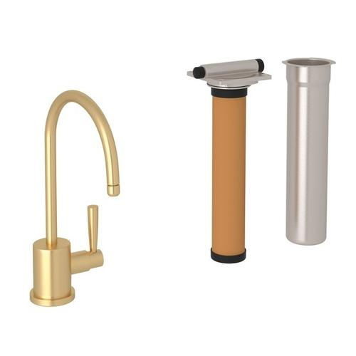 Satin English Gold Perrin & Rowe Holborn C-Spout Filter Faucet with Contemporary Metal Lever