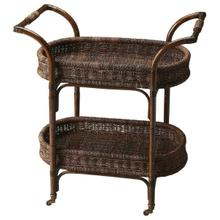 See Details - This rattan serving cart has a stylish and functional design that makes it a wonderful addition to any home. The perfect complement to your dining room, this serving cart is made from rattan featuring two woven baskets and brass casters.This serving cart has a neat and attractive appearance that is perfect for blending in with both, modern and contemporary decor. It sports an oval shape and a simple design which makes it an excellent accessory when serving tea, drinks and snacks.