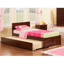 Orlando Twin Flat Panel Foot Board with Urban Trundle Walnut