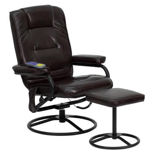 Alamont Furniture - Massaging Brown Leather Recliner and Ottoman with Metal Bases