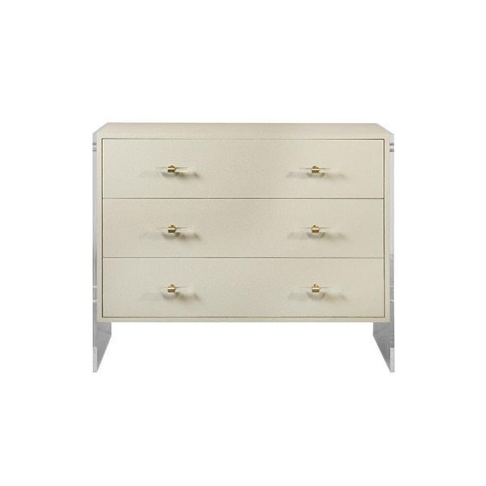 "Searching for Seriously Stylish Storage"" You'll Love the Extraordinary Details of Our Bowen Chest. Dressed In Luxurious Cream Faux Shagreen, the Three Drawer Case Floats Effortlessly Between Two Sturdy Acrylic Panels. antique Brass & Acrylic Hardware Provide the Perfect Finishing Touch."